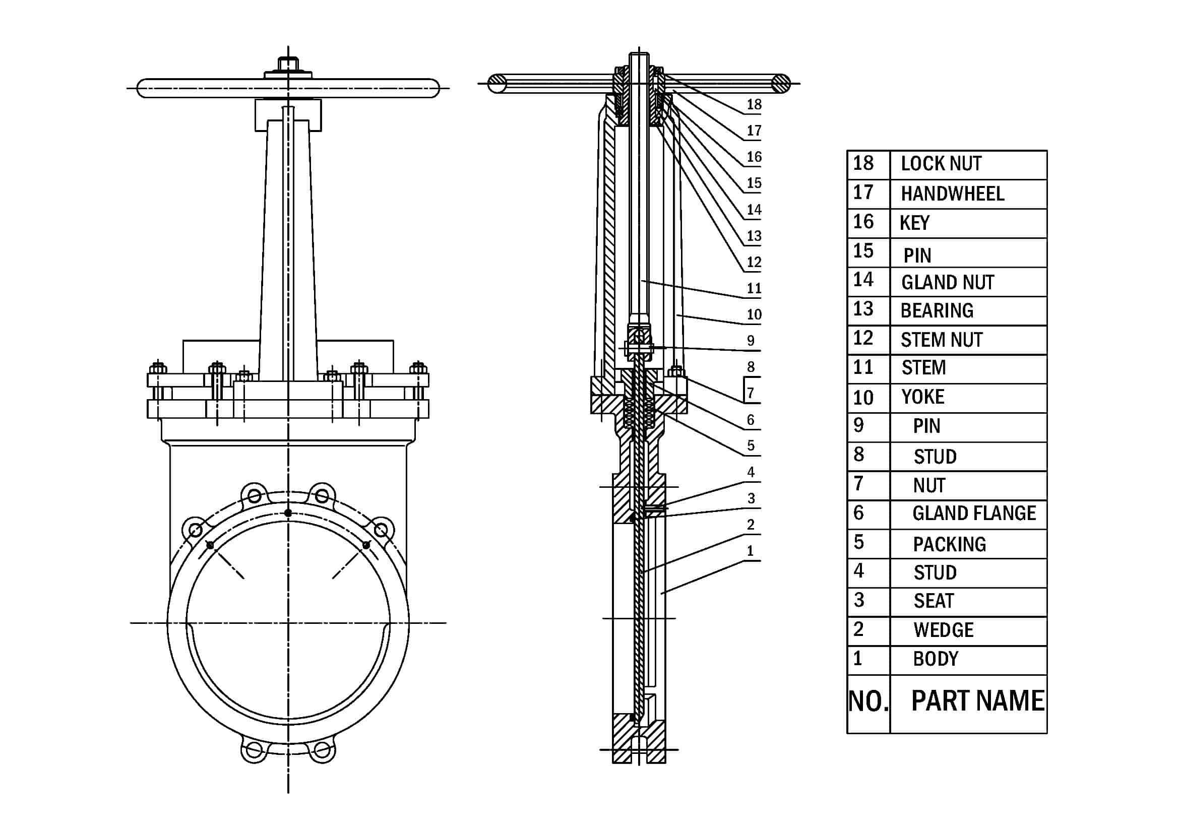 knife gate valve drawing